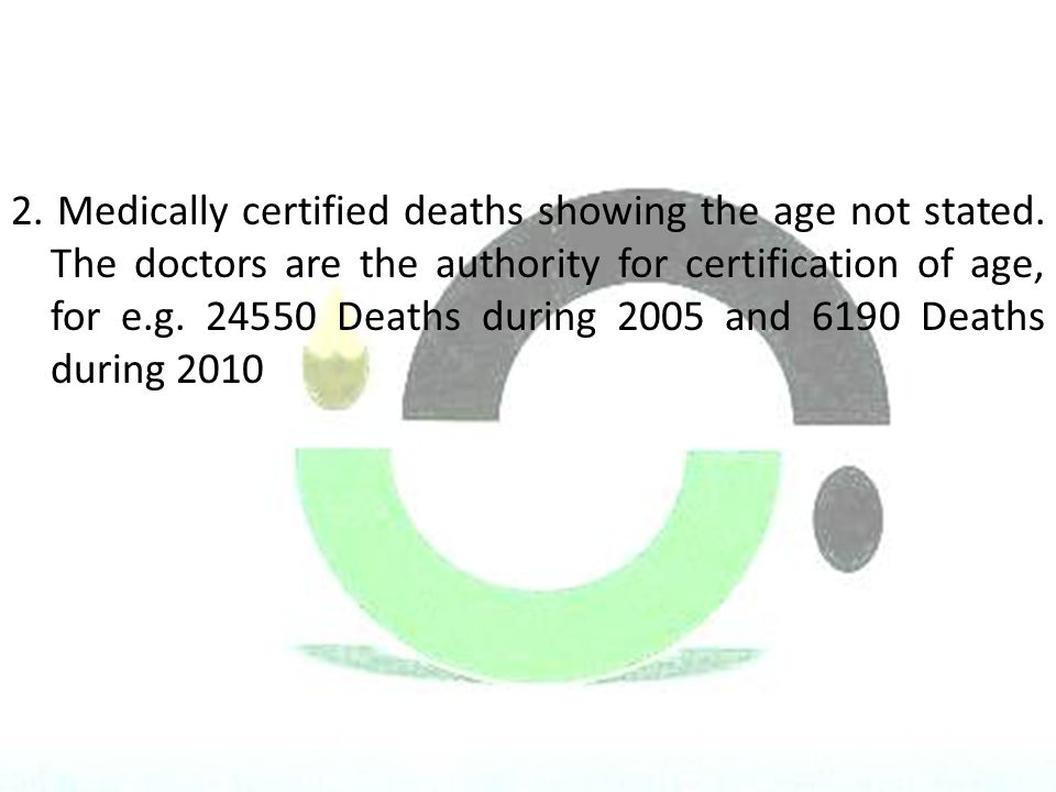 2. Medically certified deaths showing the age not stated