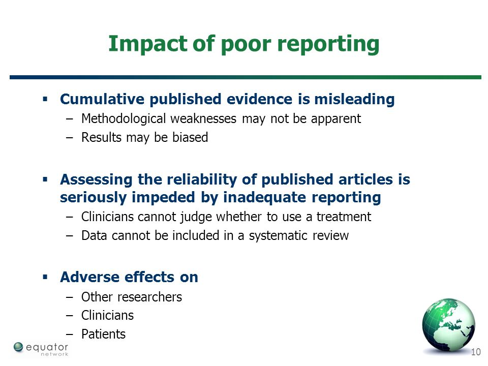 Impact of poor reporting