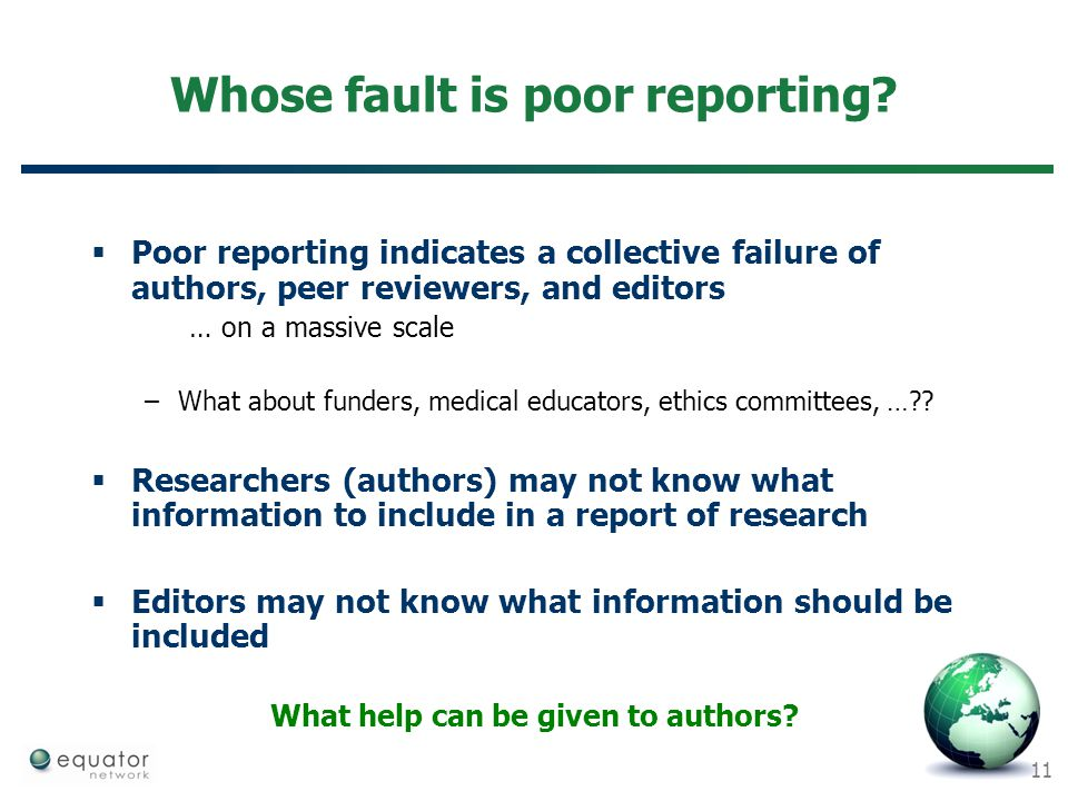 Whose fault is poor reporting