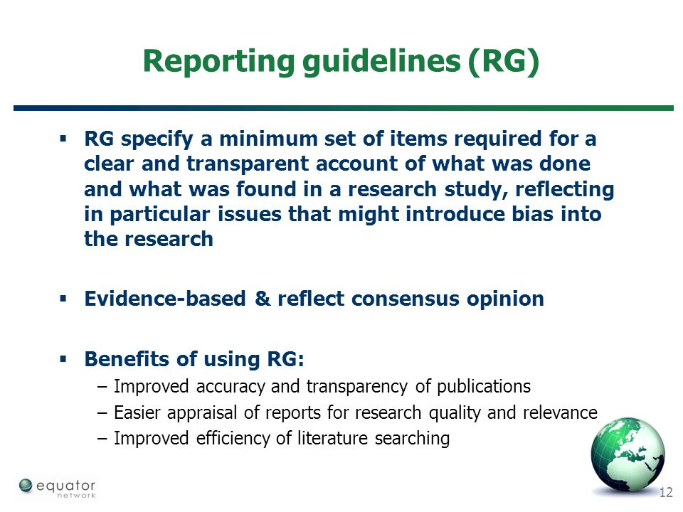 Reporting guidelines (RG)