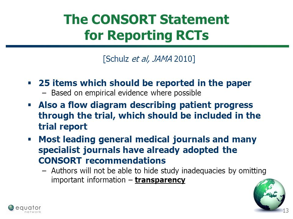 The CONSORT Statement for Reporting RCTs