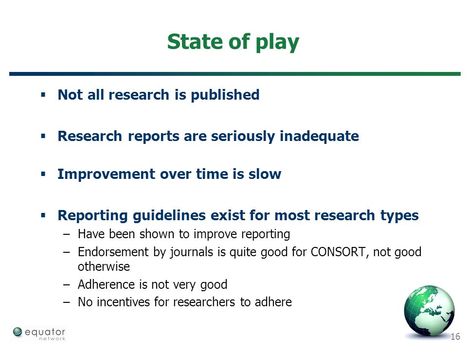 State of play Not all research is published