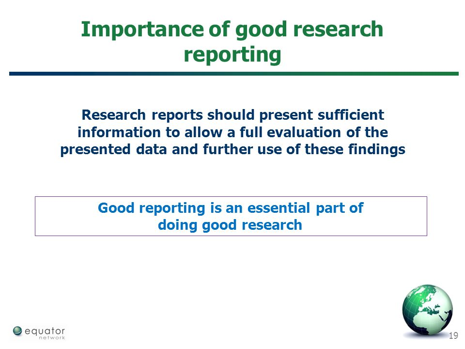 Importance of good research reporting