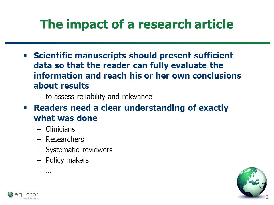 The impact of a research article