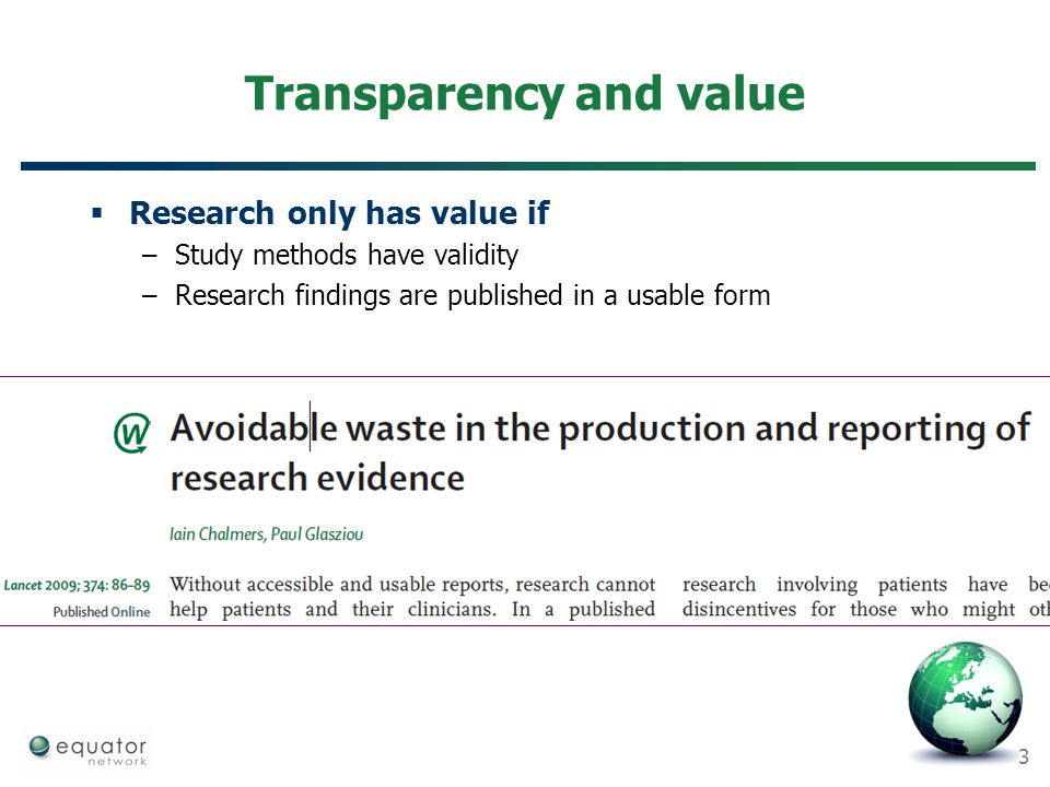 Transparency and value