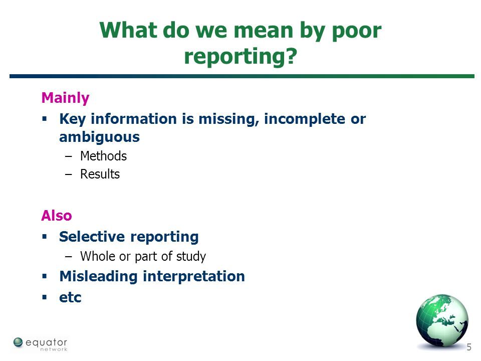 What do we mean by poor reporting