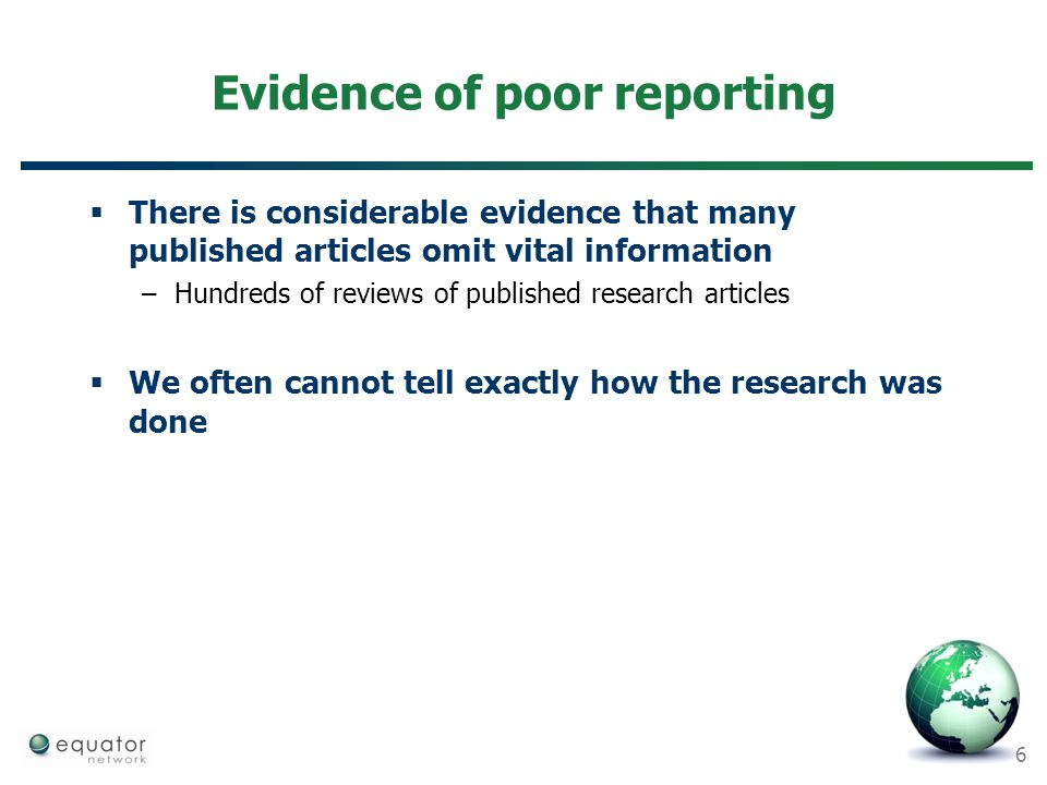 Evidence of poor reporting