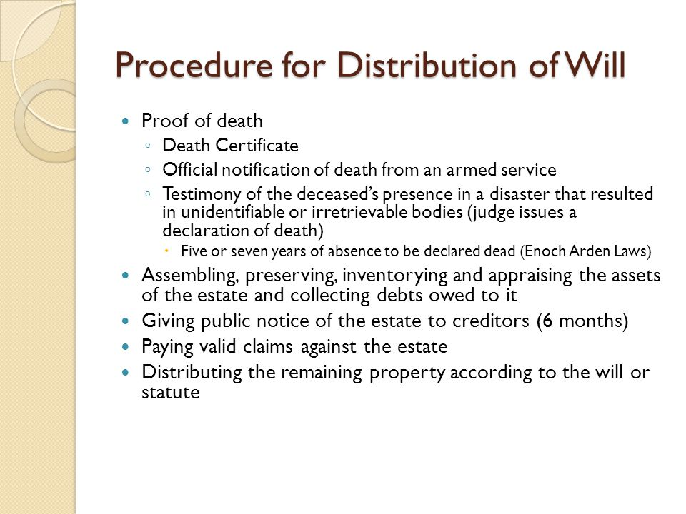 Procedure for Distribution of Will