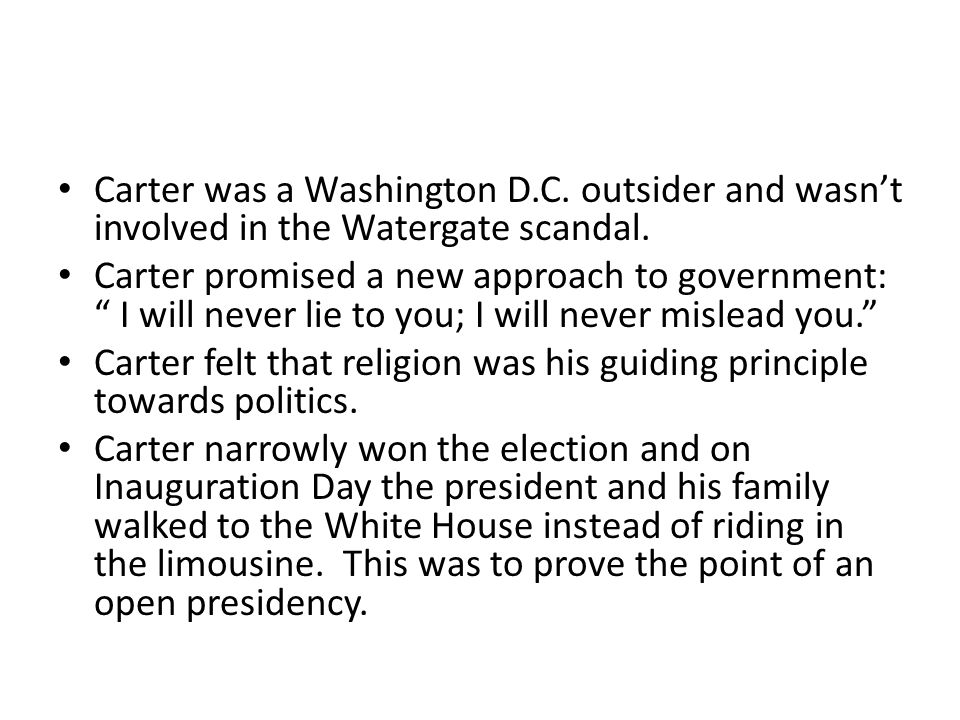 Carter was a Washington D. C