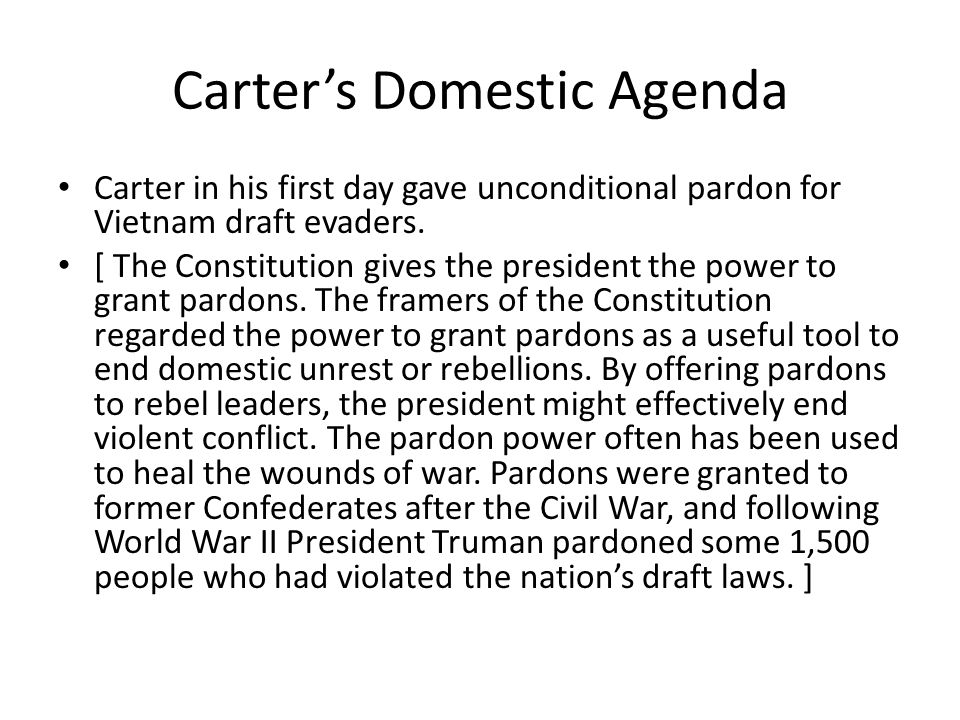 Carter's Domestic Agenda