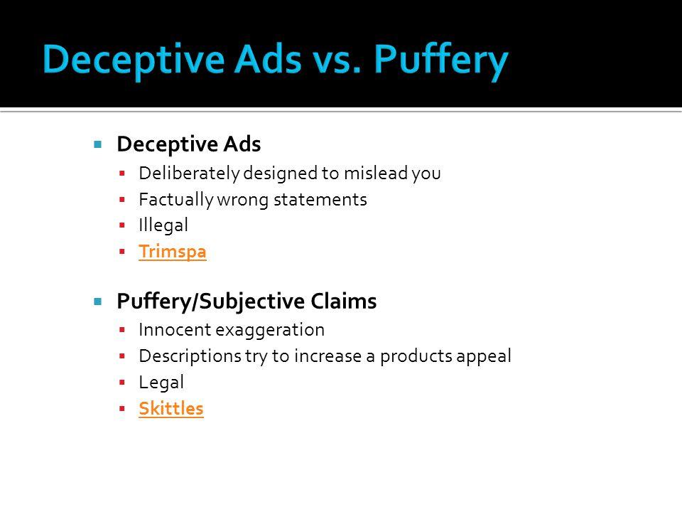 Deceptive Ads vs. Puffery