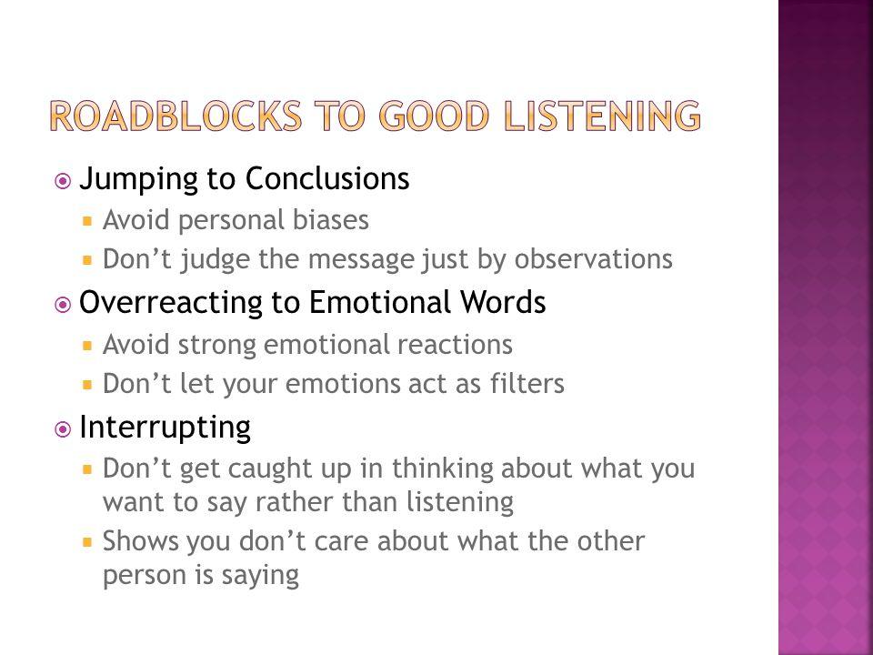 Roadblocks to Good Listening