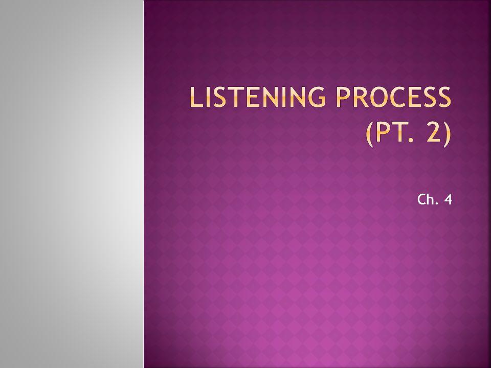 Listening Process (Pt. 2)