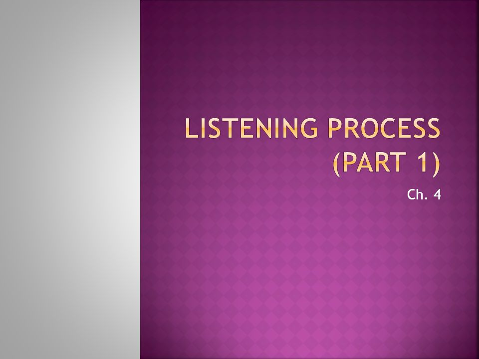 Listening Process (Part 1)