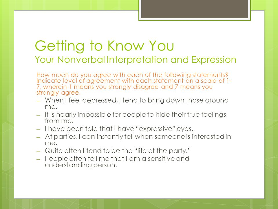 Getting to Know You Your Nonverbal Interpretation and Expression