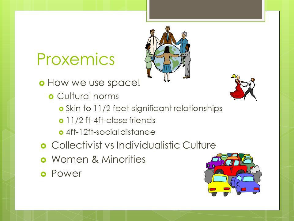 Proxemics How we use space! Collectivist vs Individualistic Culture