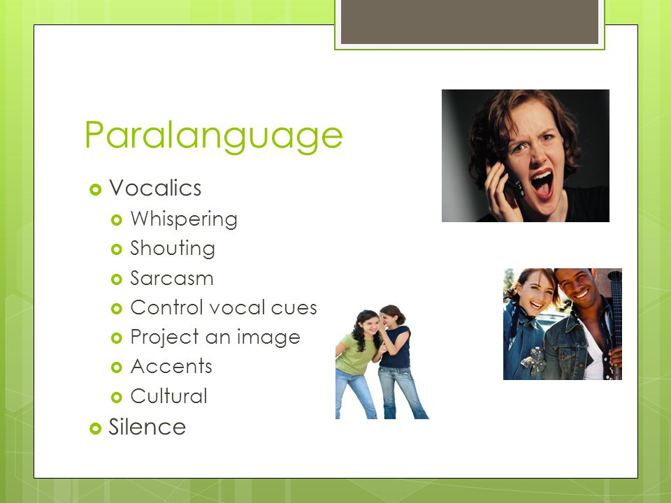 Paralanguage Vocalics Silence Whispering Shouting Sarcasm