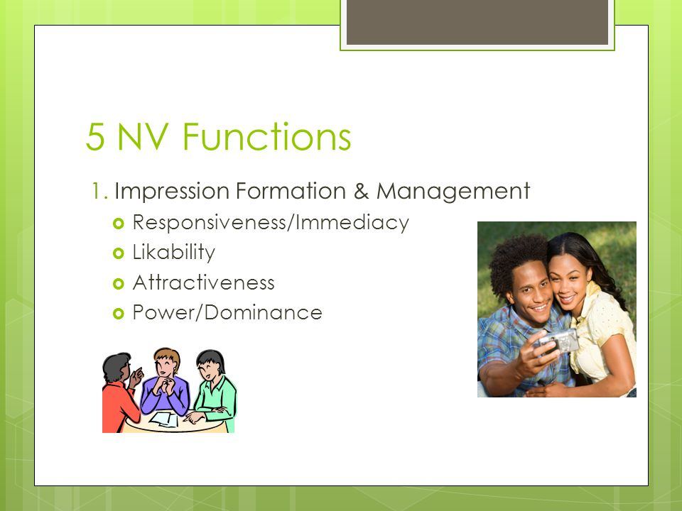 5 NV Functions 1. Impression Formation & Management