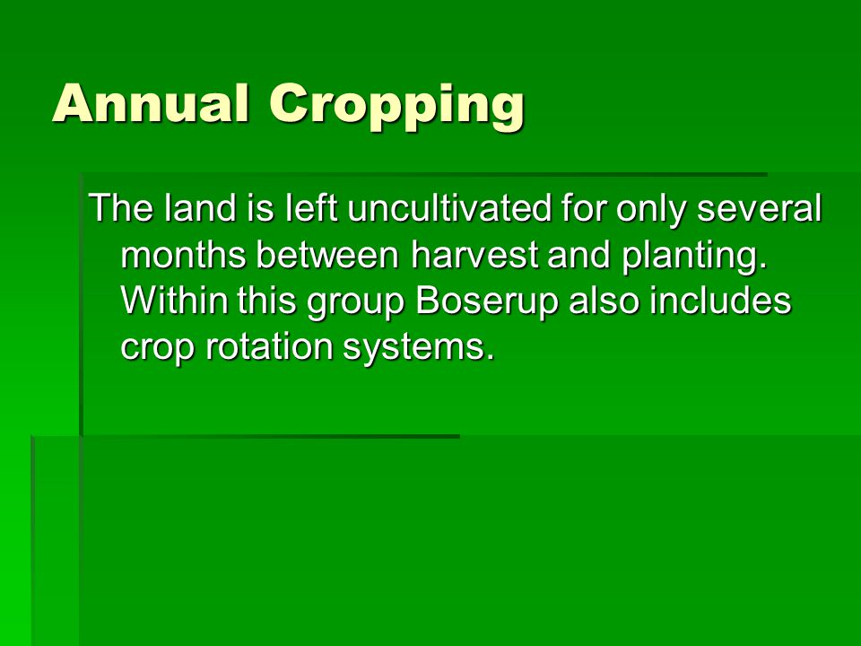Annual Cropping