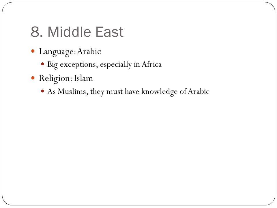 8. Middle East Language: Arabic Religion: Islam
