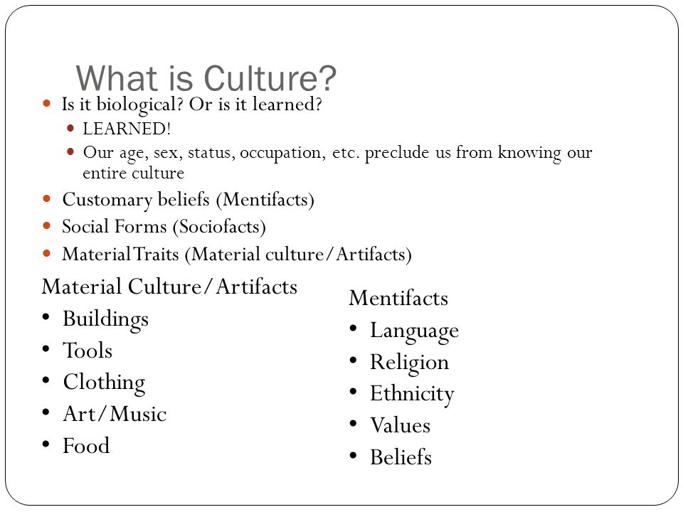What is Culture Material Culture/Artifacts Mentifacts Buildings