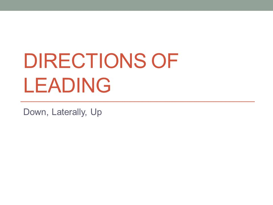 Directions of Leading Down, Laterally, Up