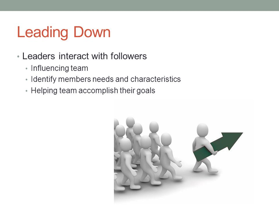 Leading Down Leaders interact with followers Influencing team