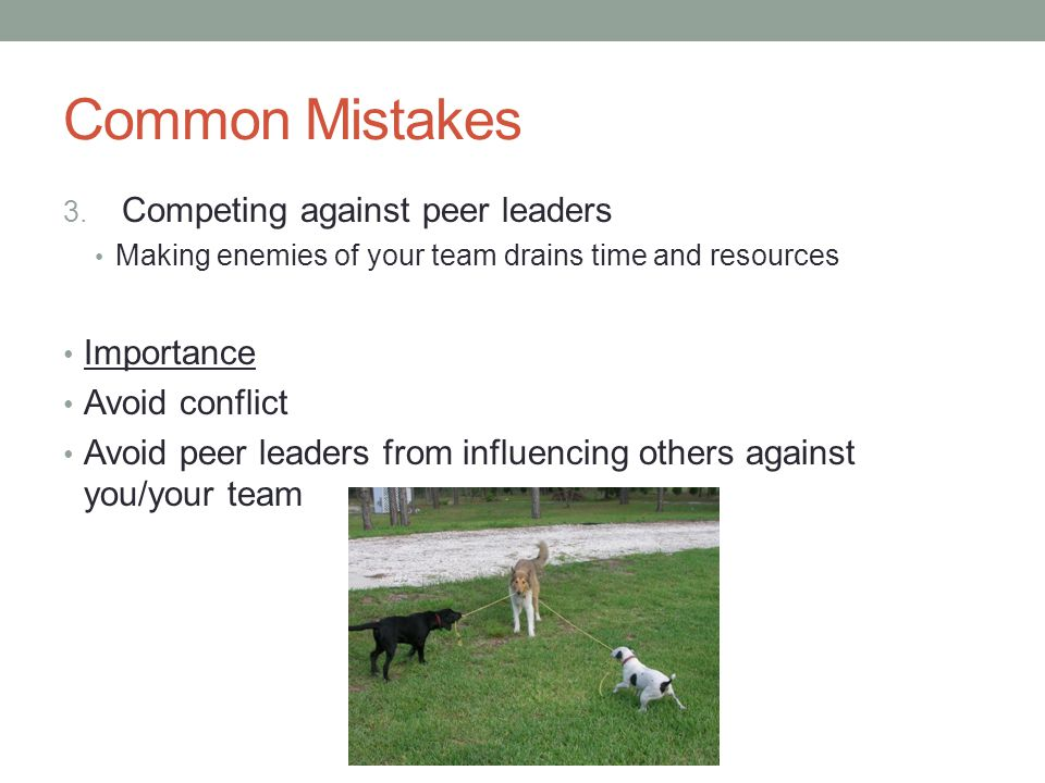 Common Mistakes Competing against peer leaders Importance