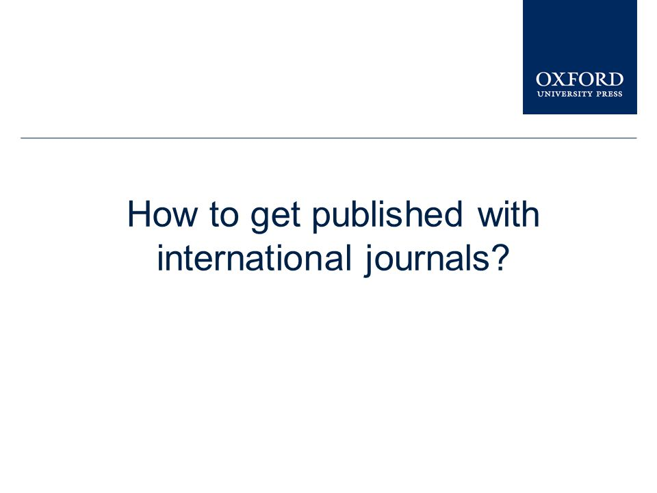 How to get published with international journals
