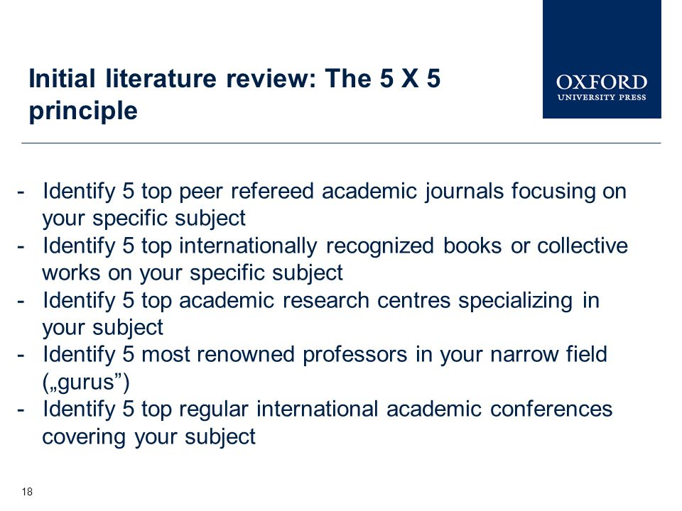 Initial literature review: The 5 X 5 principle