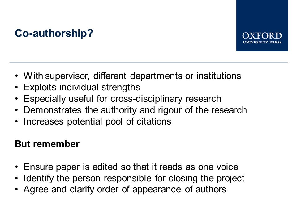 Co-authorship With supervisor, different departments or institutions