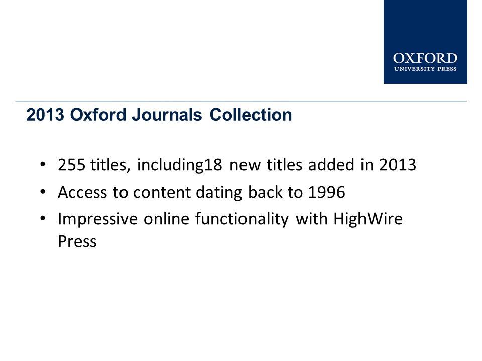 2013 Oxford Journals Collection