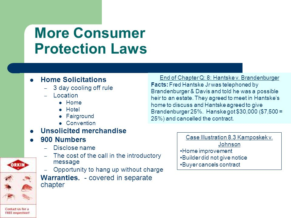 More Consumer Protection Laws