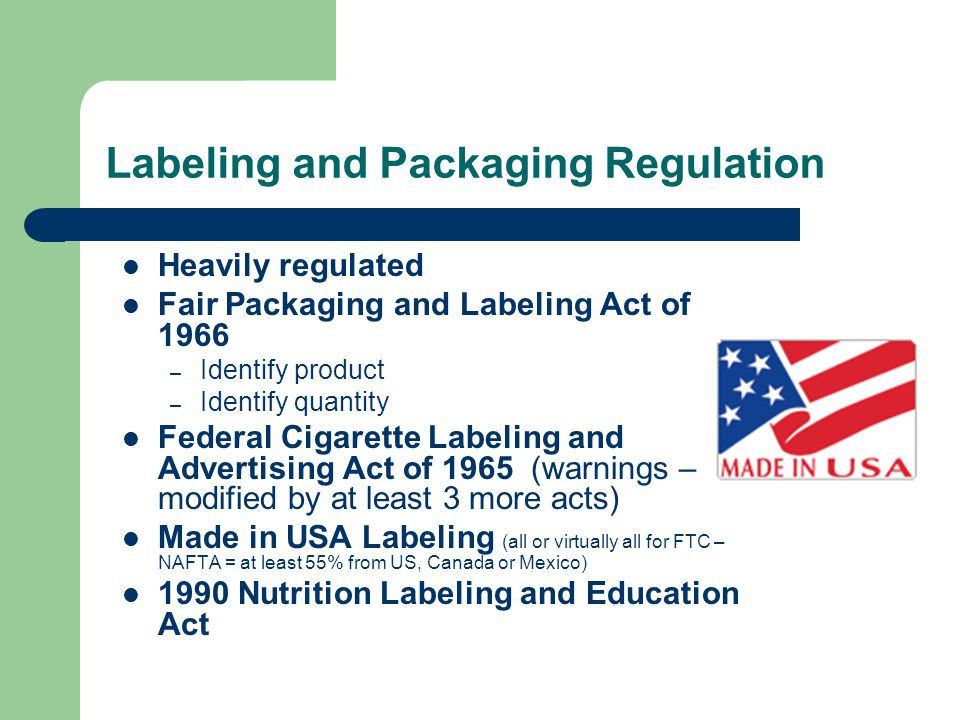 Labeling and Packaging Regulation
