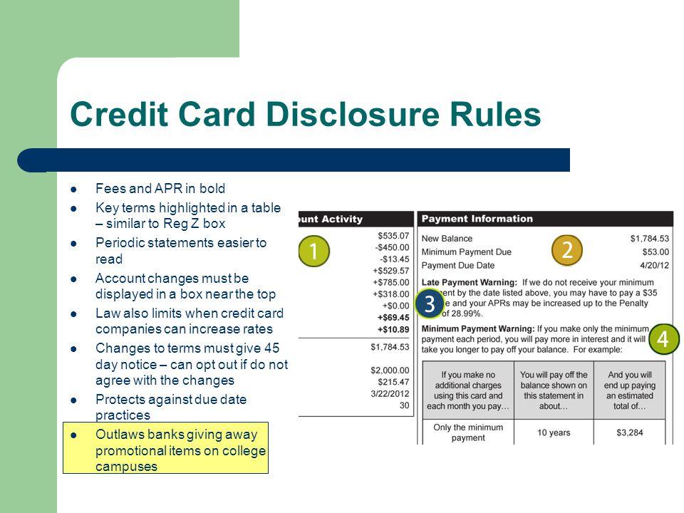 Credit Card Disclosure Rules