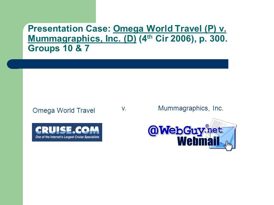 Presentation Case: Omega World Travel (P) v. Mummagraphics, Inc