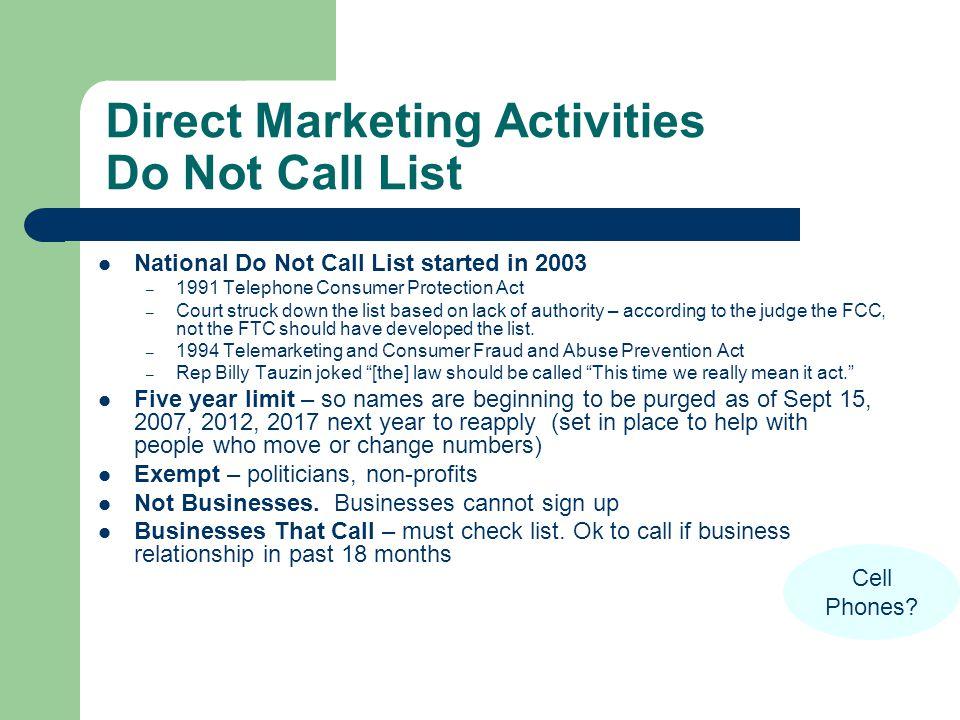Direct Marketing Activities Do Not Call List