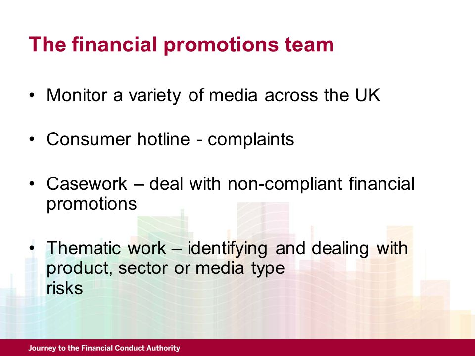 The financial promotions team