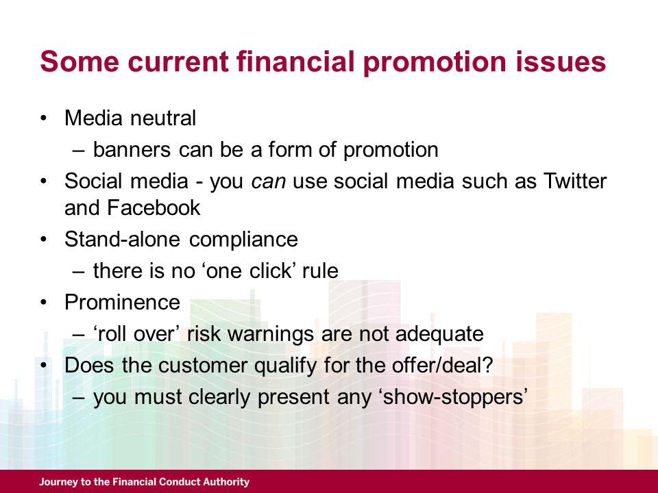 Some current financial promotion issues