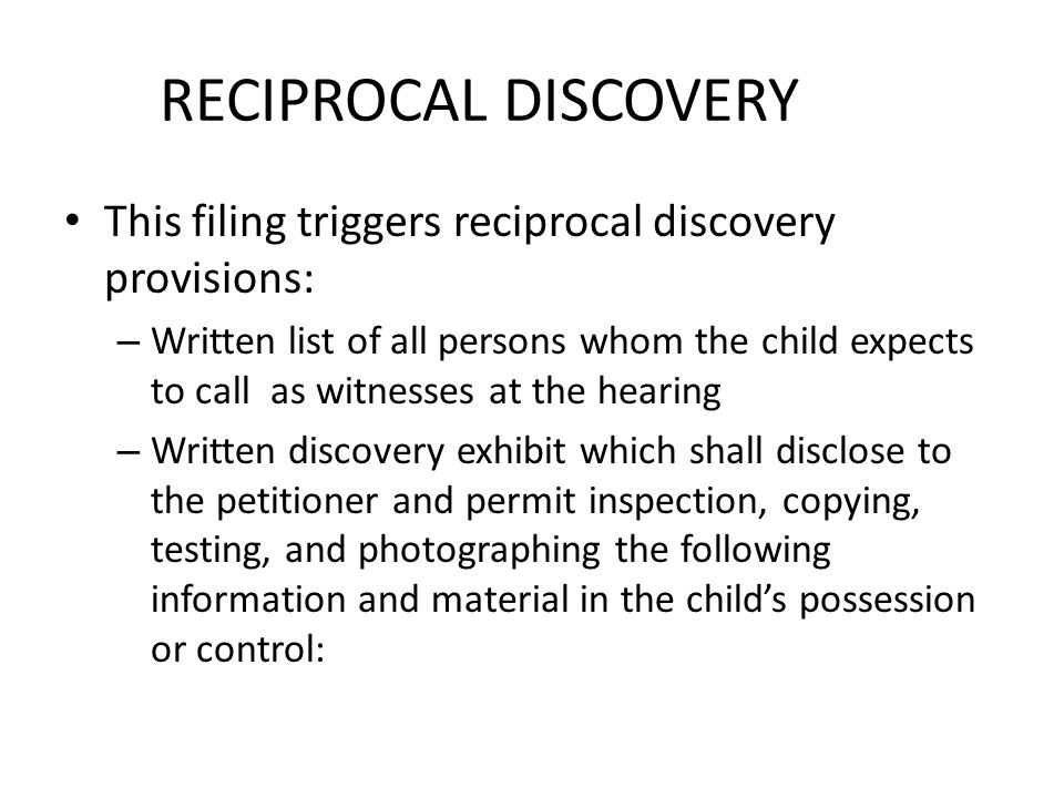 RECIPROCAL DISCOVERY This filing triggers reciprocal discovery provisions: