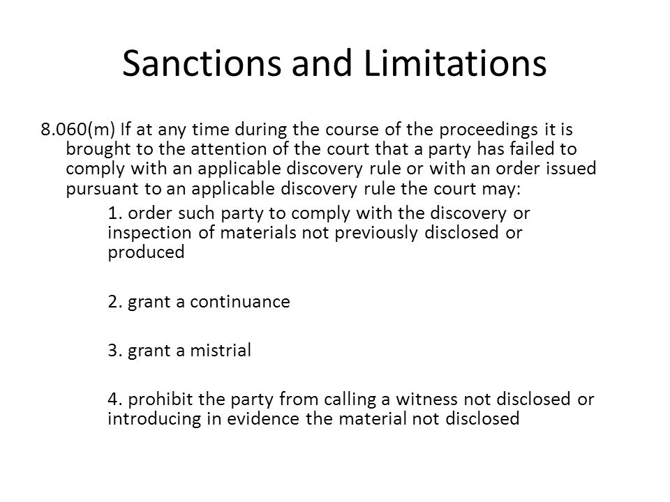Sanctions and Limitations