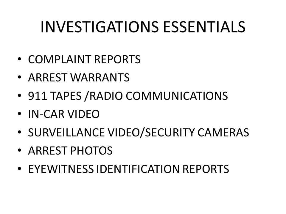 INVESTIGATIONS ESSENTIALS