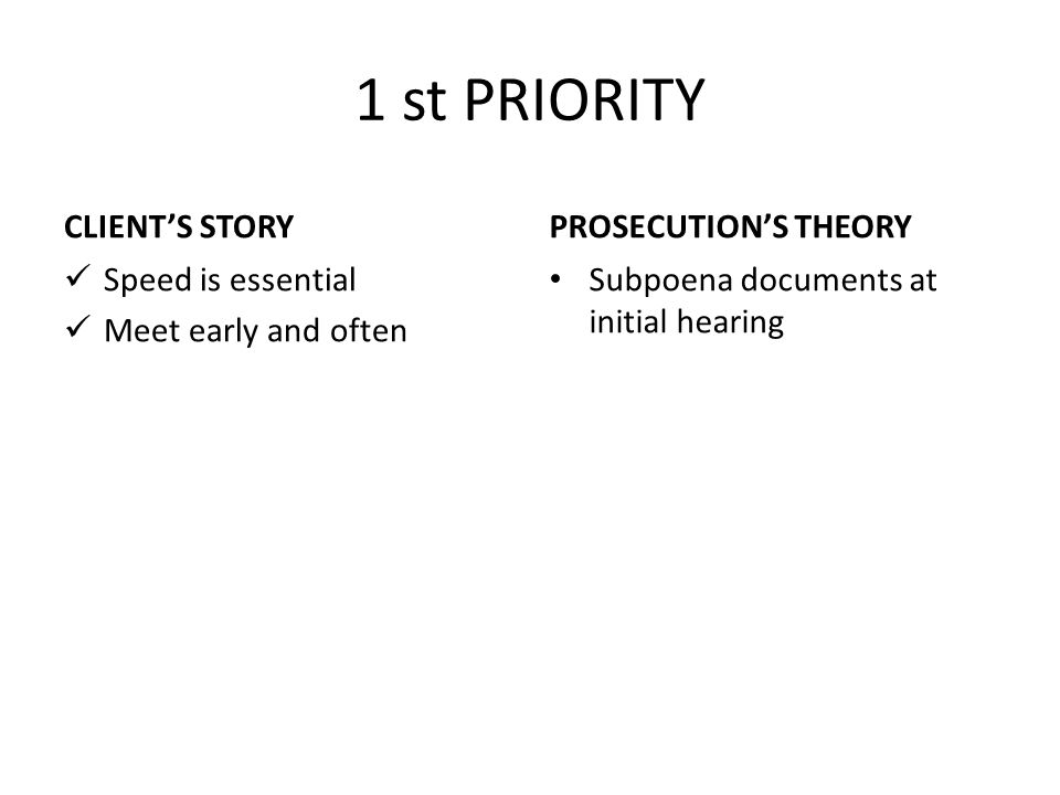 1 st PRIORITY CLIENT'S STORY PROSECUTION'S THEORY Speed is essential