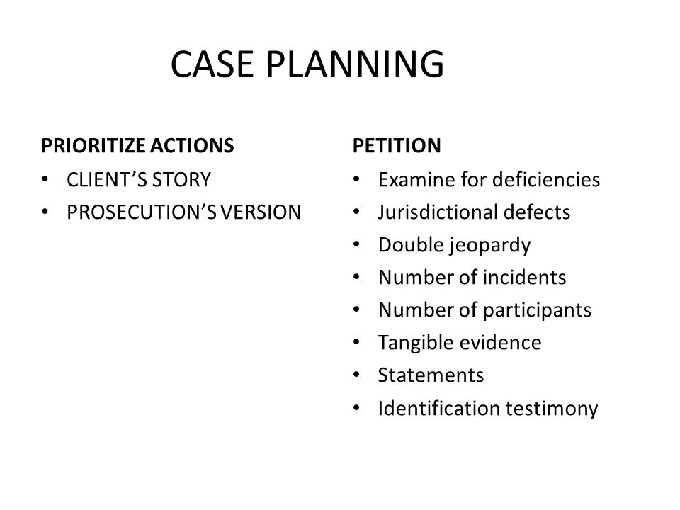 CASE PLANNING PRIORITIZE ACTIONS PETITION CLIENT'S STORY