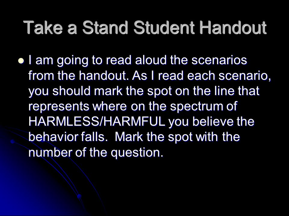 Take a Stand Student Handout