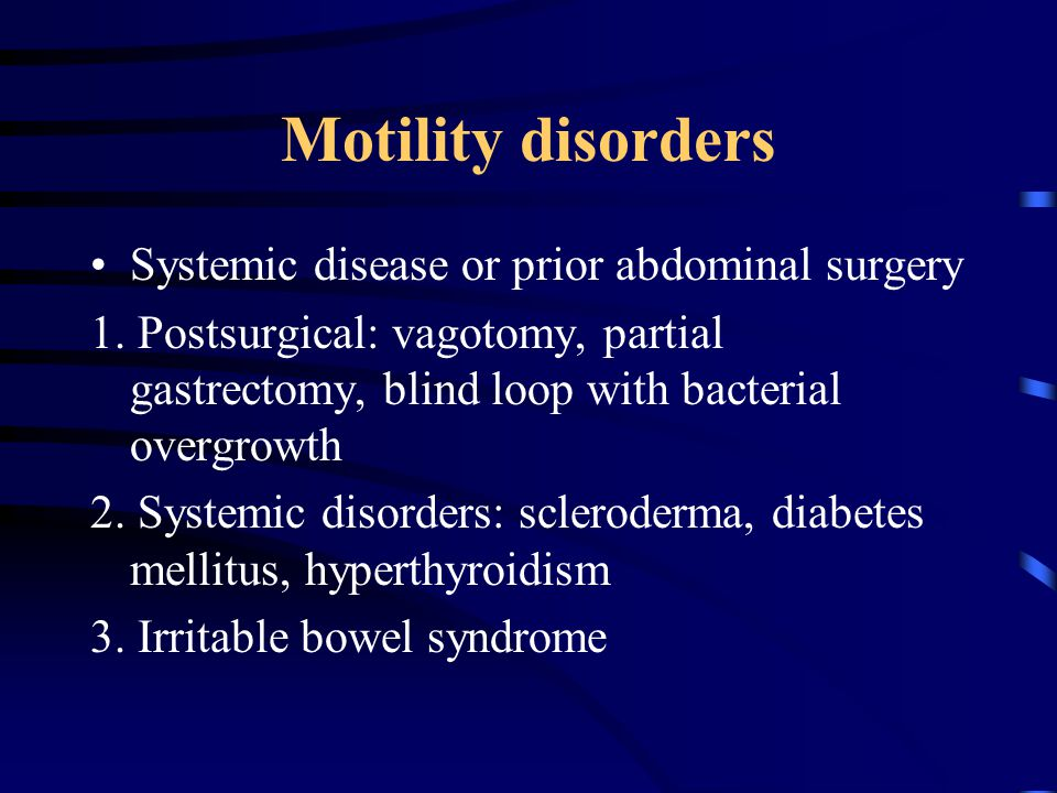 Motility disorders Systemic disease or prior abdominal surgery