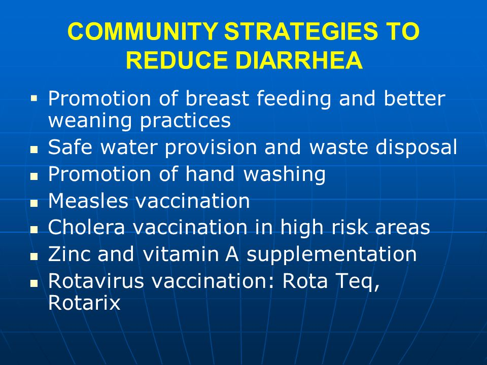 COMMUNITY STRATEGIES TO REDUCE DIARRHEA