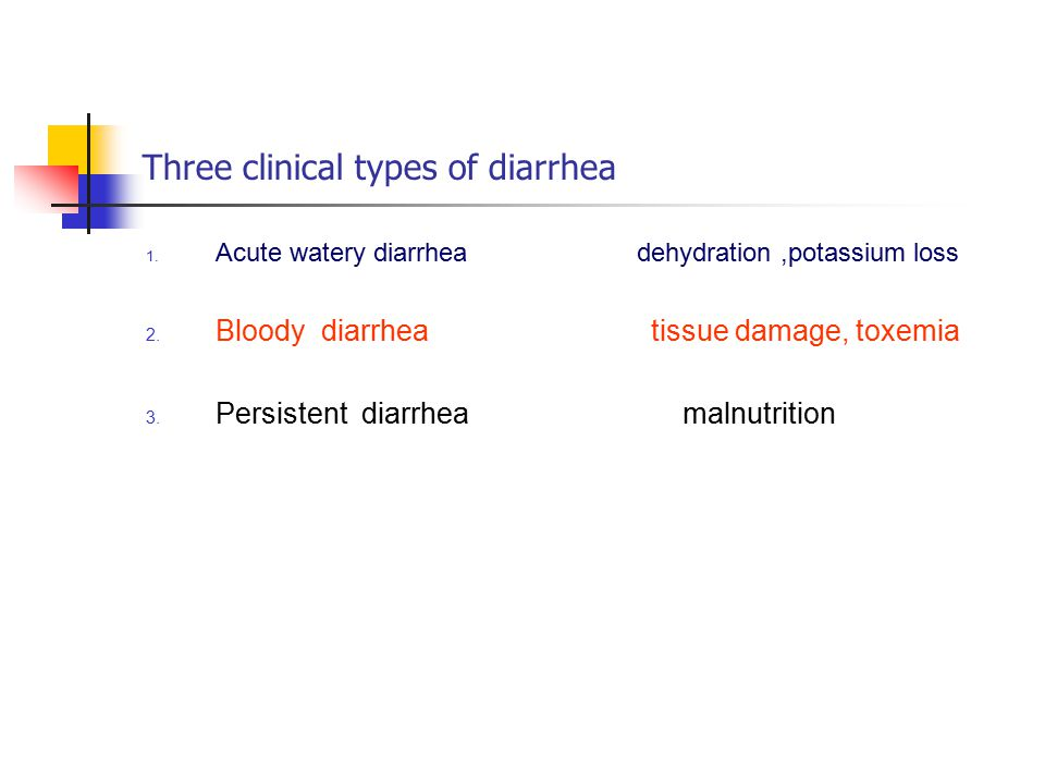 Three clinical types of diarrhea