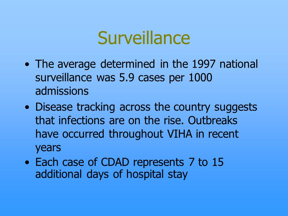 Surveillance The average determined in the 1997 national surveillance was 5.9 cases per 1000 admissions.