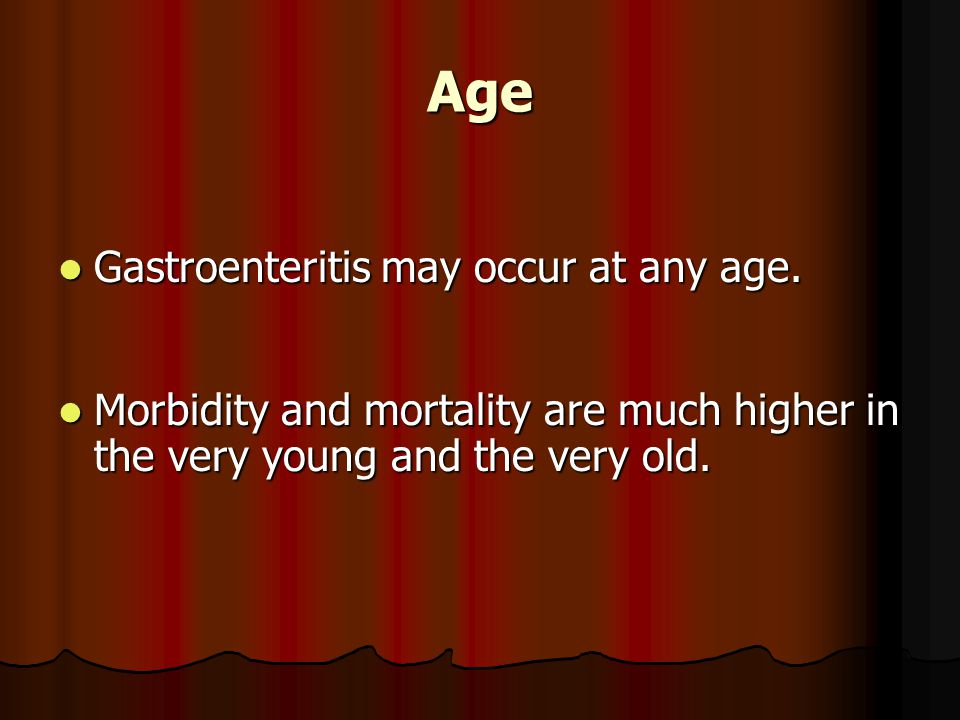 Age Gastroenteritis may occur at any age.